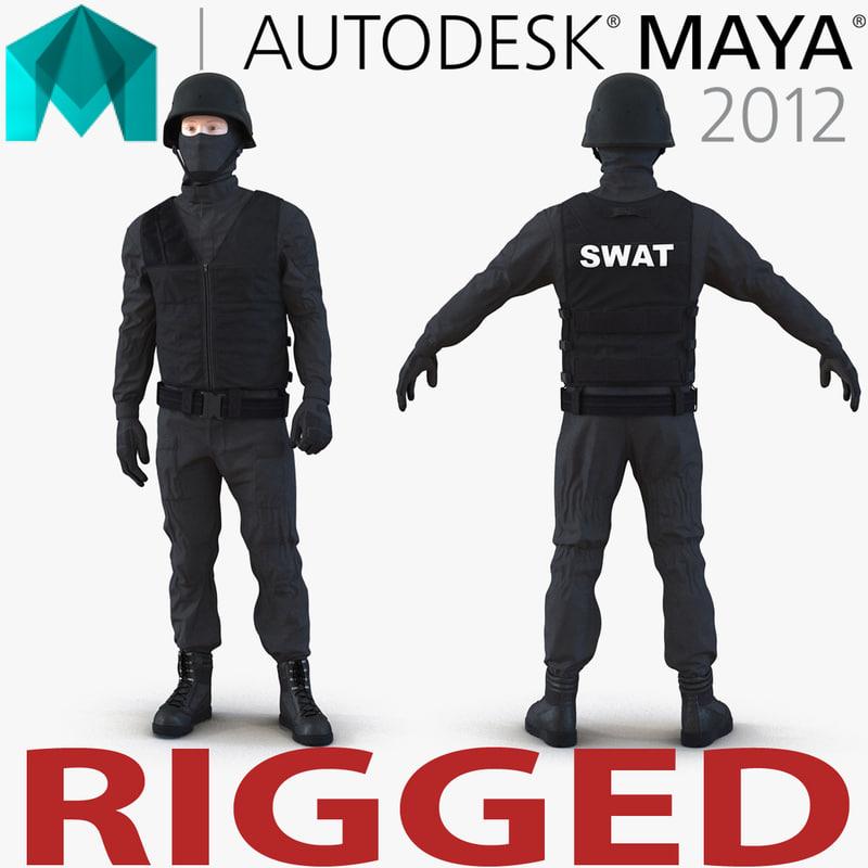 swat man rigged 3 3d model