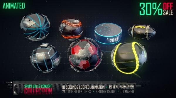 3d model sport balls concept
