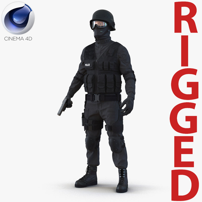 3d model swat man rigged