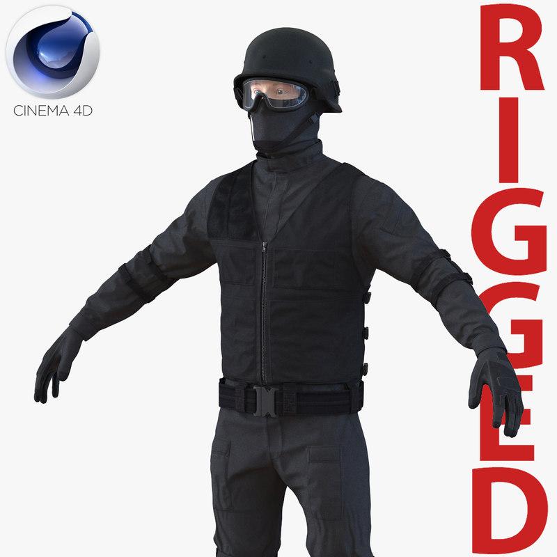 swat man rigged 2 3d model