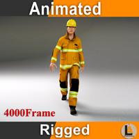 fighter fireman rig 3d model