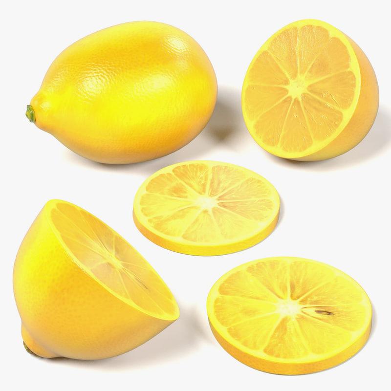 3d lemons slices halves model