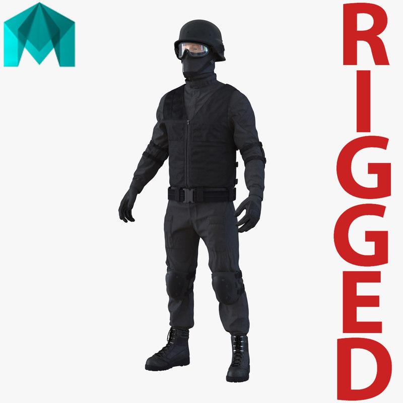 swat man rigged 2 3d ma