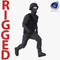 3d model swat man rigged 3