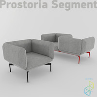 segment sofa armchair 3d model