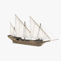 xebec sailing ship 3d max