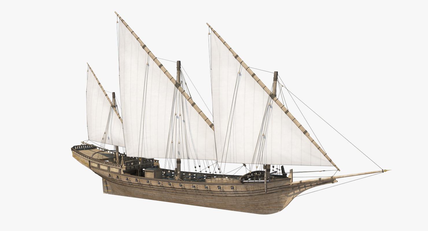 xebec sailing ship 3d max