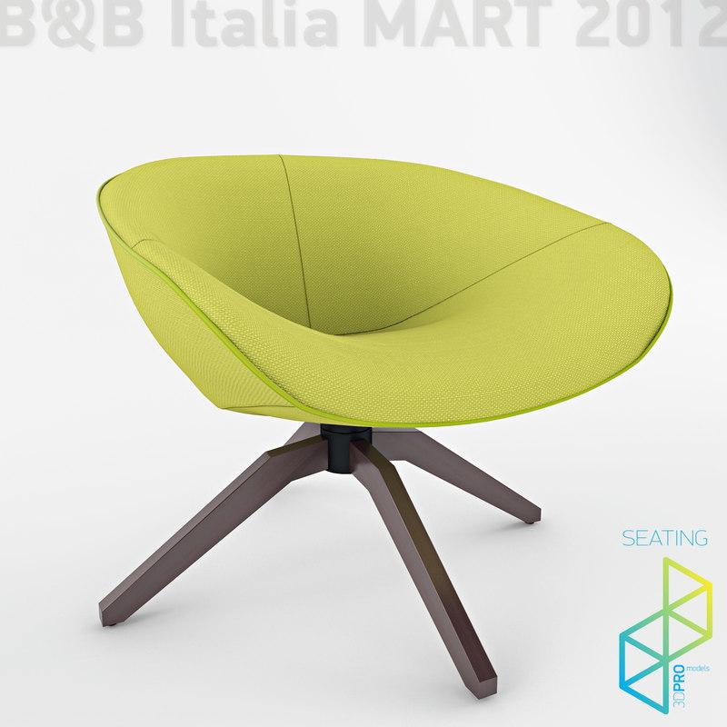 mart armchairs b italia 3d model