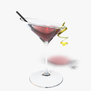 red cocktail 3d model