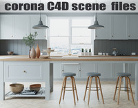 Corona Cinema 4D Scene files - French Country Kitchen