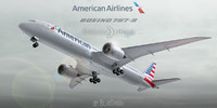 3d boeing 787-9 american airlines model