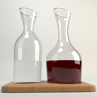 Water & Wine Carafe Set & Oak Base 1.2L/1.4L Clear