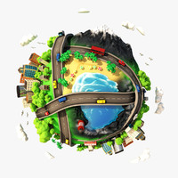3d cartoon planet city scene