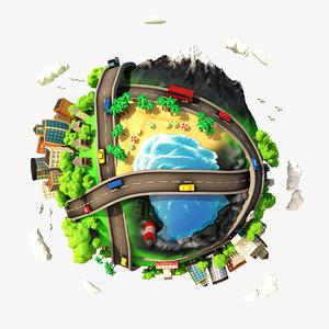 3d cartoon planet city scene