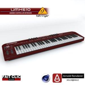 3d 3ds behringer umx610 keyboard arnold