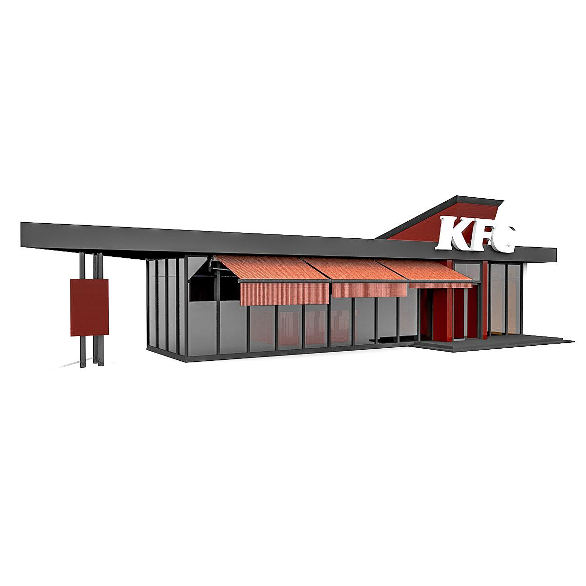 fast food restaurant kfc 3d model