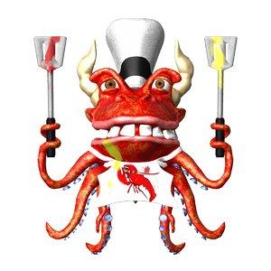 cartoon octopus 3d ma