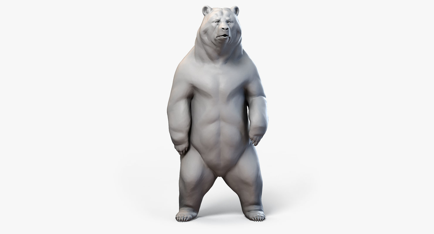3d model standing bear sculpture