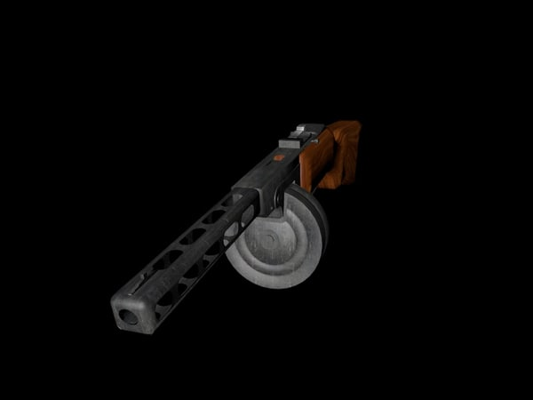 russian ppsh submachine gun 3d model