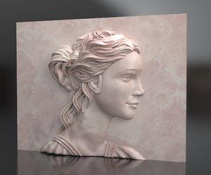 x woman portrait relief