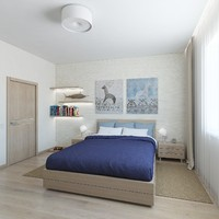 Bedroom with blue blanket