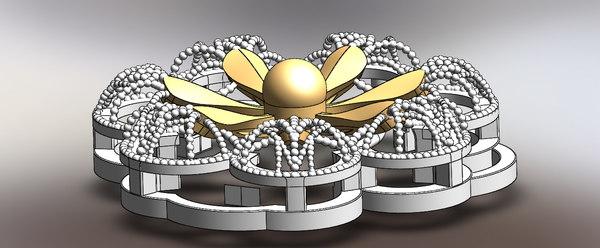 jewels-flower-gold-3dprint-mold-mum 3d model