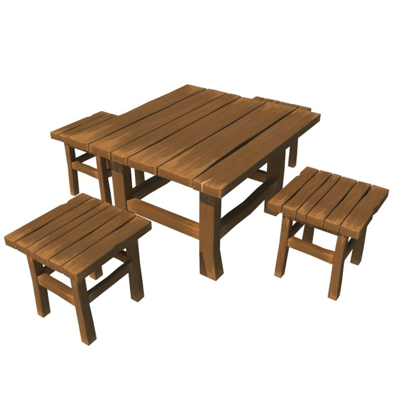 3d cartoon table set