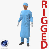 male surgeon mediterranean rigged 3d model