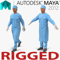 male surgeon mediterranean rigged 3d ma