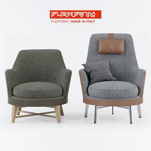 flexform guscio chair 3ds