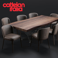 Cattelan Italia Gordon Deep Wood Table/Magda Chair