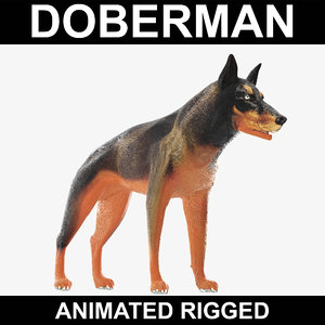 3ds realistic doberman rigged