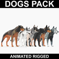 3d realistic dogs rigged model