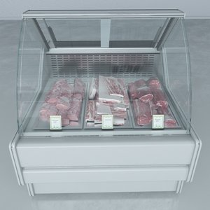3d model custom refrigerated showcase meat