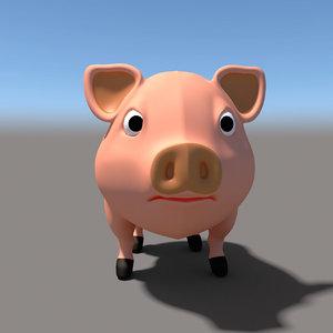 3d cartoon pig