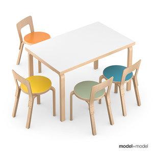 3d set chairs rectangular tables