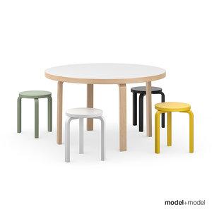 max set stools tables alvar aalto