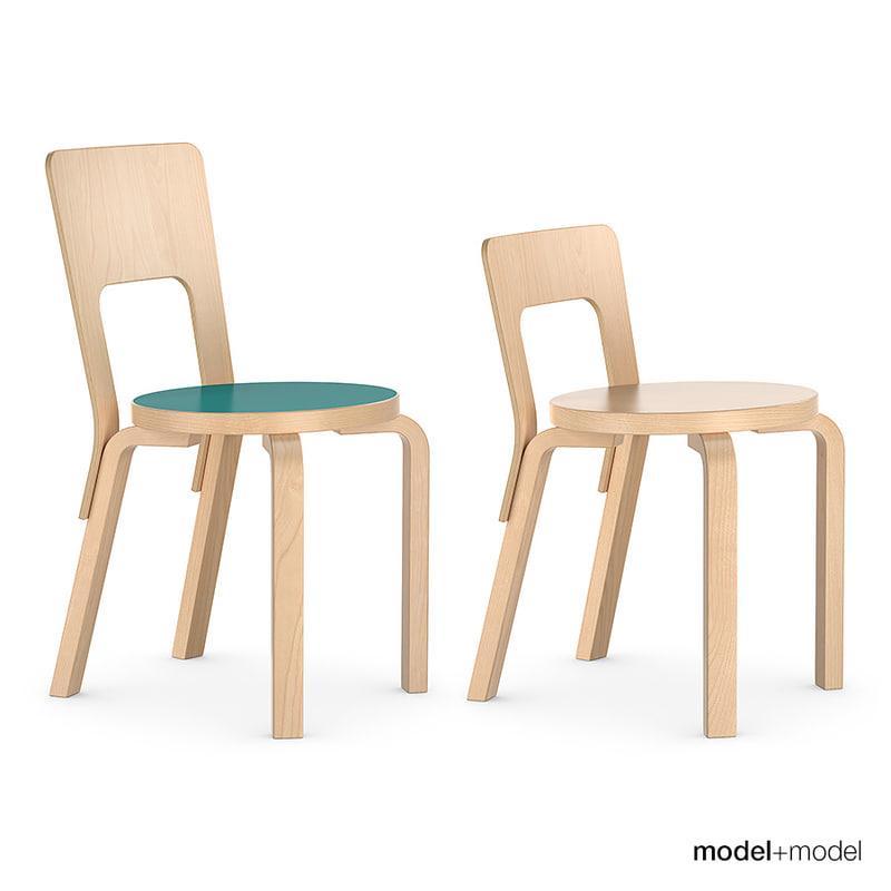 3d set chairs alvar aalto