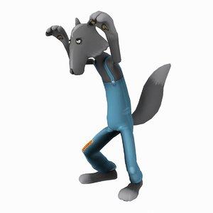 3d cartoon wolf