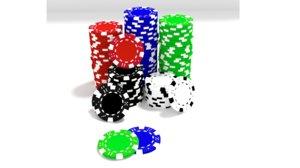 3d poker chip stack