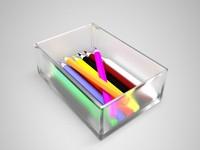 3d colour pencils model