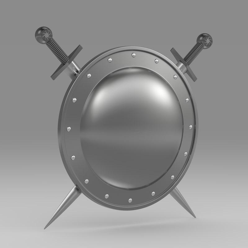 shield sword 3d lwo