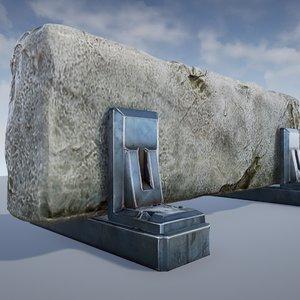 sci-fi roadblock - games 3d model