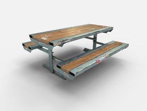 3d skate park bench pbr model