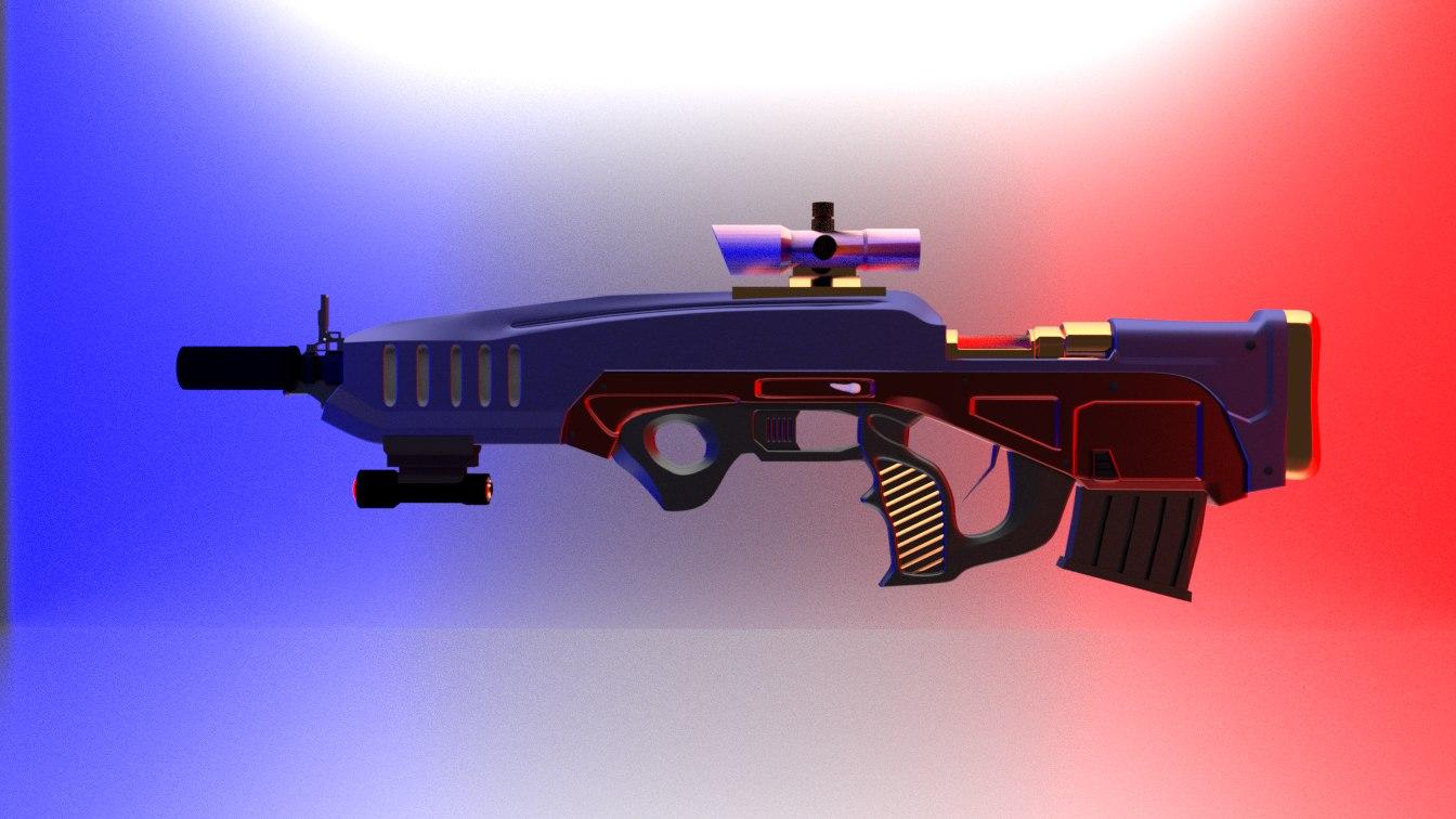 science fiction rifle modern 3d 3ds