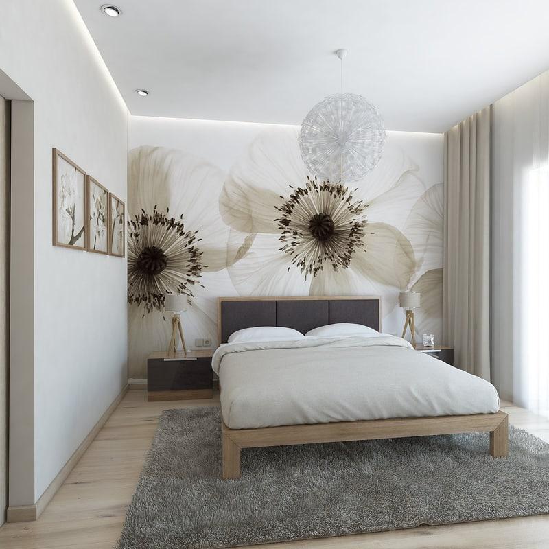 3d bedroom flower model