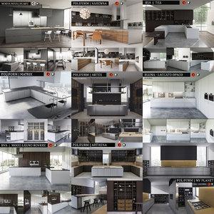 3d kitchen bluna laccato model