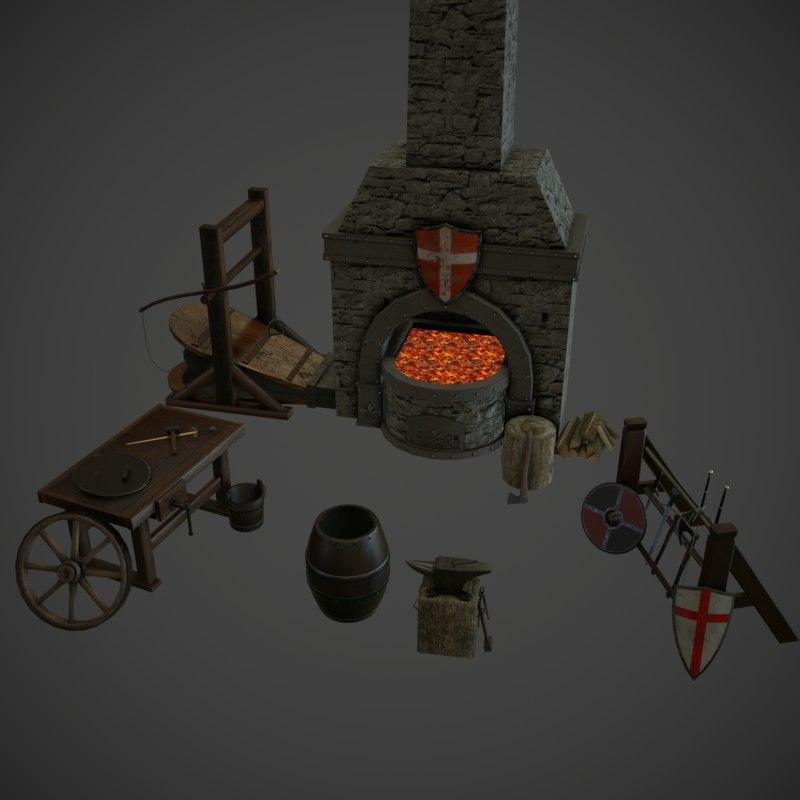 3d medieval props model