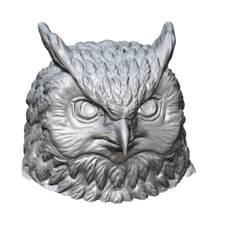 owl sculpture print 3d model