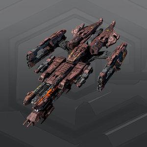 scifi spaceship 3d model